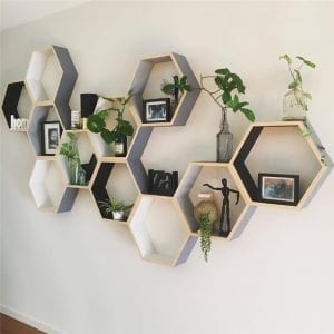Hexagon Shaped Wooden Shelf
