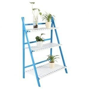 3Tier Plant Stand – Blue & White (Blue & white)